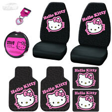 8PC HELLO KITTY CAR SEAT STEERING COVERS F&R MATS AND KEY CHAIN SET FOR HYUNDAI