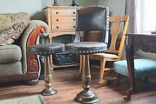 Antique Barber Chair & Stool with Heavy Brass Stands and Riveting