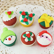 6pcs Santa Claus Snowman Christmas Cupcake Erasers Rubbers Stocking Fillers Gift