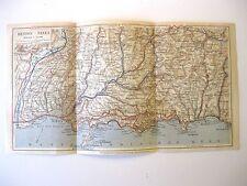 stampa antica mappa ANTIQUE OLD PRINT GRAVURE MAP NIZZA MENTONE MONACO 1930