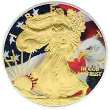 2016 1oz Ounce American Silver Eagle Coin Gold Gilded Colorized Flag Bald Eagle