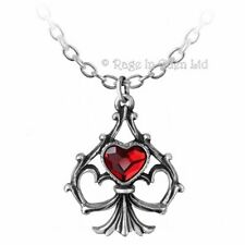 *LUCKY IN LOVE* Ace Of Spades & Hearts Alchemy Gothic 1977 Pewter Pendant (P759)