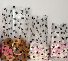 "50 Dog Paw Print Cello Bags 4 x 2""x 9"" Gusset Cellophane Goodie Treat Bag"