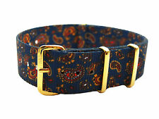 HNS ZULU MoD G10 Double Graphic Vintage Navy Paisley Pattern Nylon Watch Strap