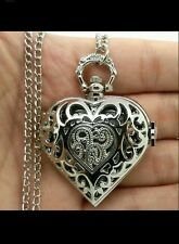 silver openable heart pendant necklace watch classic lady GIRL LOVER FRIEND GIFT