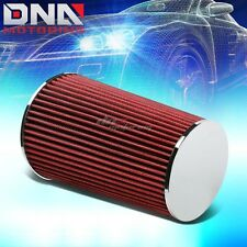 """3""""SHORT RAM/COLD AIR INTAKE INDUCTION 10"""" ROUND STRAIGHT RED COTTON GAUZE FILTER"""