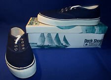 Vtg 1970s Converse Nautilus Deck Shoes Boys Size 4 Navy Blue New Old Stock USA