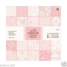 "Papermania 6x6"" scrapbooking paper capsule collection 32 sheets Wild Rose pink"