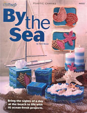 BY THE SEA PLASTIC CANVAS Pattern Needlepoint Paperback BOOK Shells Fish NEW