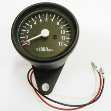 Tachometer Black 0-12,000 RPM 1=1:4 Ratio Tach Cafe Racer Custom Suzuki GS