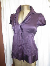 BCBG Azria purple washed silk button up ruffle front SS blouse shirt sz XS