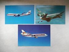 3 CARTES POSTALE  DC10 TIA/ 747-100 UNITED / 1 DC10 3 THAI