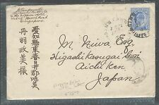 MALAYA STRAITS SETTLEMENTS (PP2508B) KE 8C BLUE FROM RAFFLES HOTEL TO JAPAN WITH