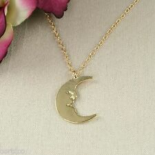 N4 Dainty Gold Plated Half Moon Pendant Necklace - Gift boxed
