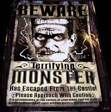 **HALLOWEEN CLEARANCE MONSTER FRANKENSTEIN WANTED POSTER PARTY DECORATION PROP