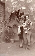 BK241 Carte Photo vintage card RPPC Femme costume dans flamenco  décor plante