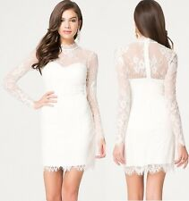 NWT bebe lace Dress ivory white long sleeve sexy cocktail club top Large L 10