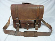 """16x13"""" Real Leather Padded Briefcase Overnight Bag Macbook Satchel Handmade"""