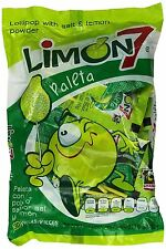 Limon 7 Paletas Lollipops 30 Pcs Salt and Lemon Coated Mexican Candy El Azteca