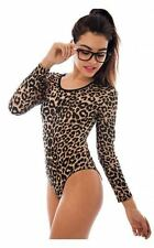 Ladies Animal Print Bodysuit Womens Leopard Long Sleeve Stretch Leotard Top 8-26