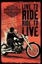 HARLEY DAVIDSON MOTORCYCLE LIVE TO RIDE POSTER PRINT NEW 24x36 FREE SHIPPING