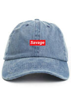 SAVAGE UNSTRUCTURED BASEBALL DAD CAP HAT SUPREME LOGO NEW - DENIM