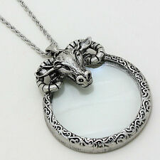 New listing   		Ram Animal Charm Necklace SILVER Magnifying Glass Charm 33