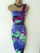 KAREN MILLEN FLORAL PURPLE BLUE PENCIL DRESS Size UK 12 10 EU 38 36 CHRISTMAS