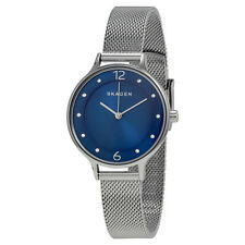Skagen Anita Blue Dial Stainless Steel Mesh Ladies Watch SKW2307