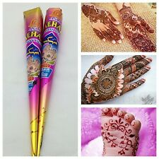 MEHAK HENNA MEHNDI CONE BODY ART TATOO KIT HAND MADE FRESH PACK SET OF 2