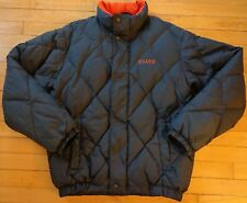 Chaps Ralph Lauren Quilted Down Puffer Jacket Winter Coat Navy Blue Orange Small