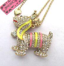 Betsey Johnson flash crystal&enamel Cute dog pendant Necklace