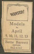 LOUISVILLE TIMES MAY 20, 1959 AD FOR BETTE BARRETT COIFFURES