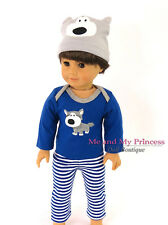 Blue DOGGY STRIPED PAJAMAS & BEANIE HAT Clothes for 18 in American Girl Boy Doll