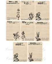 Vintage inspired 8 Alice in Wonderland quotes journal party favor with envelope