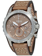 Fossil JR1518 Men's Nate Leather Cuff Band Light Brown Dial Chronograph Watch
