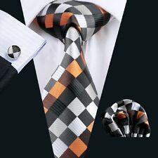 C-361 Hot New Mens Silk Ties Black Wedding Party Neckties Tie+Hanky+Cufflinks