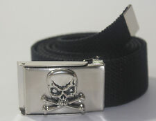 "NEW SKULL PIRATE BUCKLE ADJUSTABLE 56"" INCH CANVAS MILITARY WEB BLACK BELT MEN"