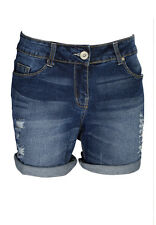 Ladies Boyfriend Stretchy Denim Shorts Distress Half Pant Ripped Hotpants RollUp