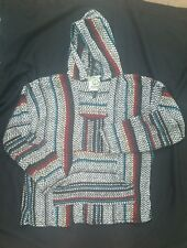 Baja Joe Men's Pullover Hoodie Poncho Multi Color striped -Rasta Mexican Surfer
