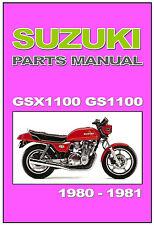 SUZUKI Parts Manual GSX1100 GSX1100E GS1100 GS1100E 1980 & 1981 Spares Catalog