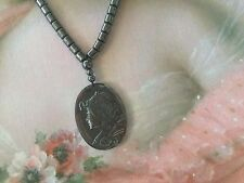 Vintage Jet Black Hematite bead Necklace and carved Victorian Lady Cameo Pendant