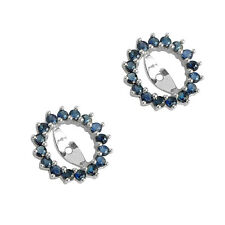 Genuine Blue Sapphire Earring Jackets 1.28 cttw 14K white gold NWT $590