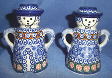 Polish Pottery/Stoneware Pair Candlestick Holders-Handpainted-Signed By Artist