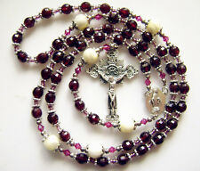 *Rare Garnet Gemstone Beads BEAD Silver Special Flower Rosary & Cross NECKLACE