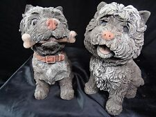 2 Stunning English Stone Terrier Dogs Statue Garden Ornaments Gatepost Porch