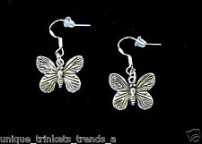 PRETTY BUTTERFLY DANGLE SILVER EARRINGS~STERLING HOOK~GIFT FOR HER MOM FRIEND