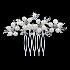 pearl flowerDesigns Wedding Tiara Diamante Silver Plated Crystal Pearl Hair Comb