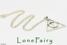 Silver Plated Harry Potter Deathly Hallows Triangle Chain Necklace Book & Film
