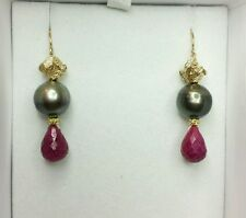 Tahitian Pearl earrings solid 14k gold flower 4ct Ruby tear drop pear briolette